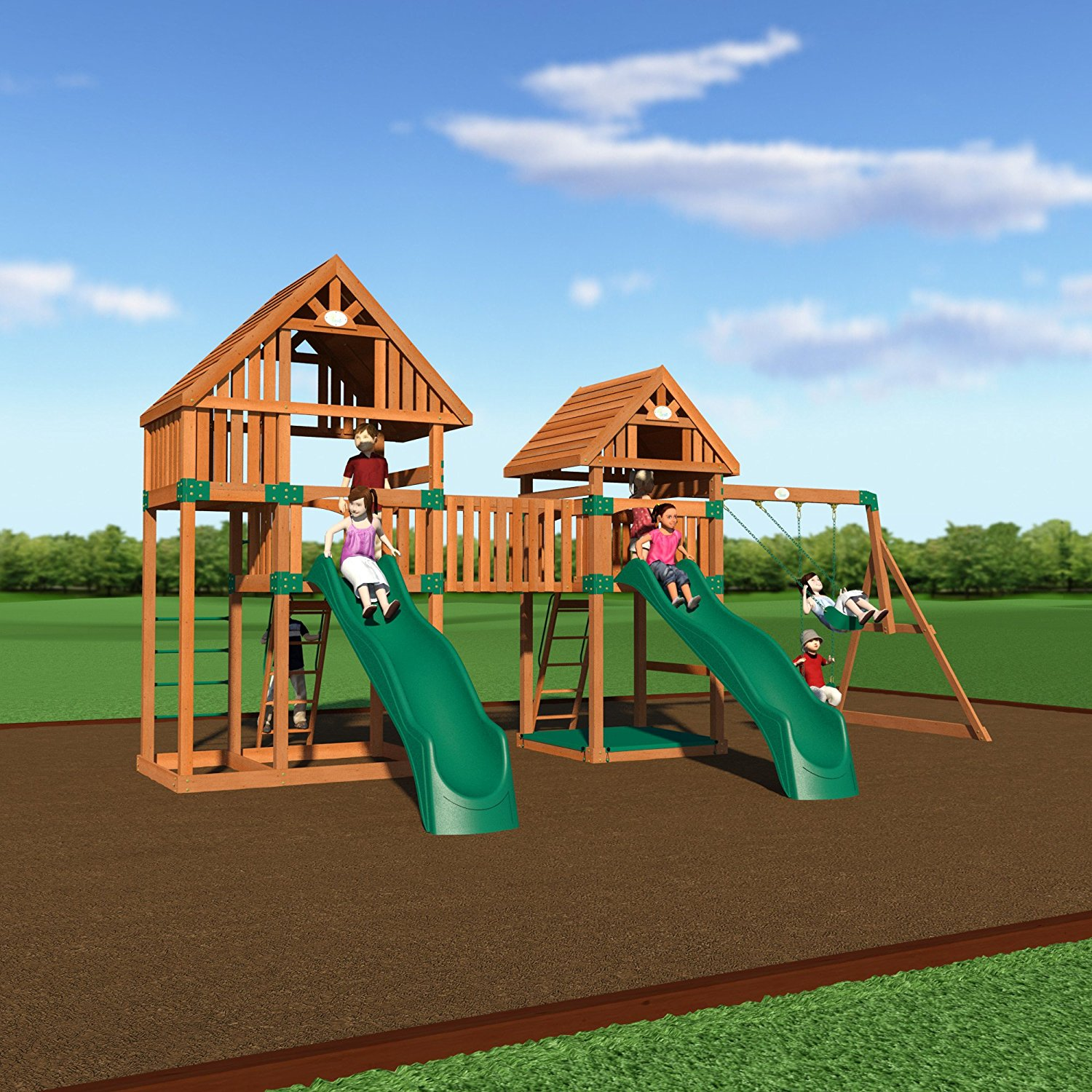 Backyard Discovery Vista All Cedar Wood Playset Swing Set