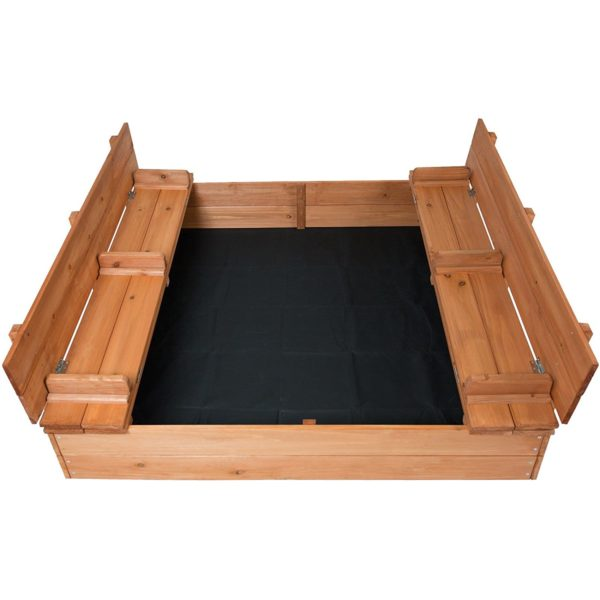 Cedar Sandbox with Two Bench Seats Kids Play Enclosed 2