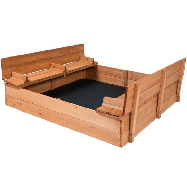 Cedar Sandbox with Two Bench Seats Kids Play Enclosed