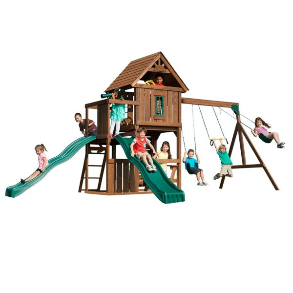 Swing-N-Slide Mont Eagle Play Set with Two Swings, Two Slides, Rock wall and Picnic Table